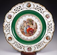 "Vintage IMPERIAL BAVARIA Germany Huge 14"" Reticulated Pierced Edge Maidens Plate"