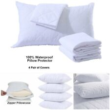 Waterproof Quilted Zipped Pillow Protectors 100% Cotton Pillows Cover Pack of 4