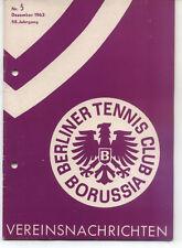 Tennis Borussia Berlin - Vereinsnachrichten - Dezember 1963