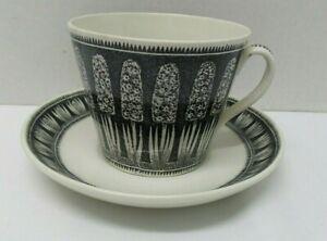 Vintage MCM GEFLE Sweden Black HYACINTH Hyacint Cup Saucer Percy