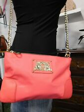 Juicy Couture Louisa Nylon Pink Coral Crossbody with Tassle Gold Chain Strap