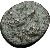 PERGAMON in Mysia 150BC Ancient Greek Coin ASCLEPIUS Medicine SNAKE STAFF i61781