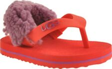 NWT UGG Kids TODDLER BABY GIRLS RED & PURPLE 6/7 I YIA YAI SANDALS WITH REAL FUR