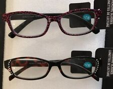 Womens Fashion Reading Glasses Black Rhinestone & Pink Cheetah Print +2.00 2Pk