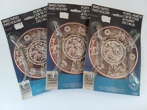 """Lot of 3 Vintage 1982 Brass Plated Plate Holders Sizes Up To 11"""" NIP Sealed"""