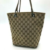 Auth Gucci  Mini Shoulder Tote Bag GG Canvas Leather Beige