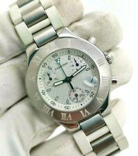 Original CARTIER Chronograph 21 Chrono 2424 Quartz Watch 38mm White Dial 100M