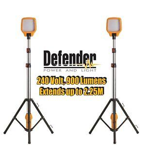 2 x DEFENDER Task Light LED Site Work Lighting   Telescopic Tripod 240v 240 volt