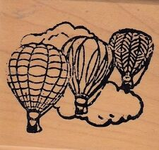 "hot air balloons hampton Wood Mounted Rubber Stamp 2 x 2""  Free Shipping"