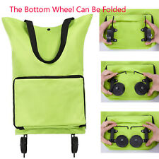 Folding Shopping Cart Trolley Bag with Wheels Foldable Grocery Tote Collapsible