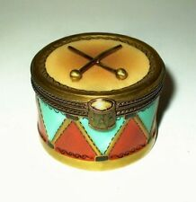 LIMOGES BOX - CHRISTMAS - PARRY-VIEILLE - TOY DRUM & DRUMSTICKS - MUSICAL NOTES