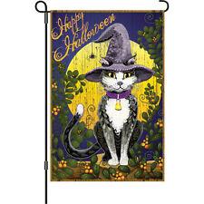 """Happy Halloween Cat Spider Moon Garden Flag Small 18"""" x 12"""""""