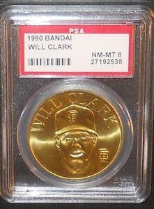 PSA 8 NM-MT 8 - Will Clark San Francisco Giants 1990 Bandai Brass Baseball Coin