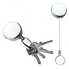 1 Pc Retractable Pull Keychain Holder Full Metal Reel Recoil Key  Ring  Belt QW