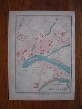 CARTE PLAN de la ville de MONTAUBAN  Gravure vers 1880