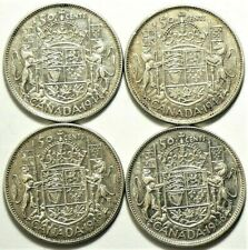 1944 1945 1946 1949 Canada 50 Cents Silver Lot of 4 #11728