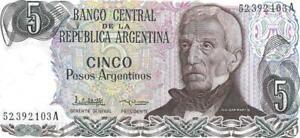 Argentina 5 Peso Argentino 🌎💷 P-312; SIGNATURE VARIETY 1; 1983-84; UNC 🌎🗿