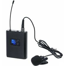 UHF Wireless Microphone System Lavalier Lapel Microphone with Transmitter black