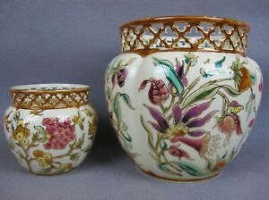 2 vintage hand painted Zsolnay Hungary Jardinieres Planters Cache Pots Vases.