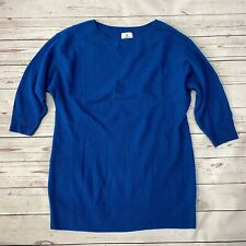 SUSINA Cashmere Ribbed Blue Sweater Tunic Dress 3/4 Sleeves Small Boat Neck