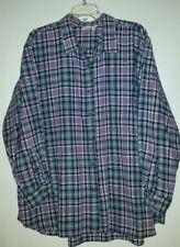 CHEROKEE Long sleeve button-up blouse- cotton- Sz 26/28W- 1 pockets-Plaid