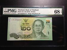 0G0101111 THAILAND ND(2013) P#124 20 Baht, PMG 68 EPQ. Superb Gem UNC