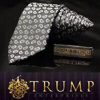 DONALD J. TRUMP~ SIGNATURE COLLECTION Black Silver Paisley NECKTIE POWER TIE