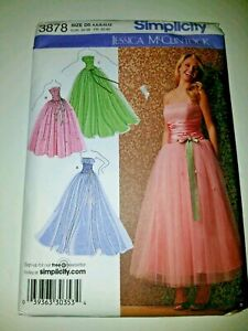Simplicity # 3878 Jessica McClintock 4-12 SPECIAL OCCASION DRESS in 3 Views