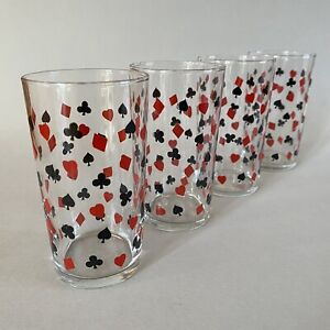 4 Vintage/Retro 50's Card Suits Highball Glass/Glasses Atomic/Mid Century/Casino