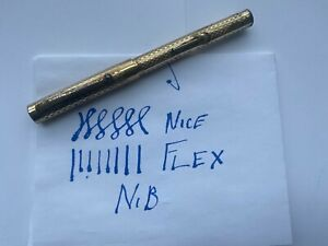 Vintage Eclipse Gold Filled Fountain Pen w/ Med Flex Eclipse 14KT NY #4 14K NIB