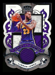 2019-20 PANINI CROWN ROYALE LEBRON JAMES COAT OF ARMS GAME USED JERSEY SP!