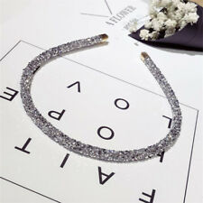 Fashion Women Glitter Crystal Crown Headband Hairband Sliver Hair Band Headpiece