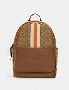NWT Coach Thompson Backpack In Signature Jacquard With Varsity Stripe