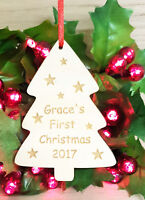 PERSONALISED BABY'S FIRST CHRISTMAS TREE DECORATION BAUBLE XMAS GIFT WOODEN
