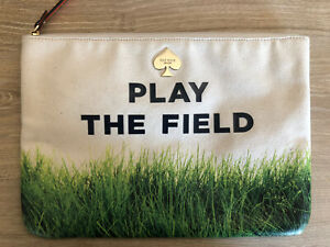 KATE SPADE Gia Call To Action Play The Field Pouch Clutch Bag Organizer Grass
