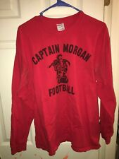 Captain Morgan Football Red Long-Sleeve Shirt Men's Large Gildan