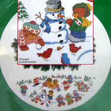 "Winter Frolic Xmas Tree Skirt Table Cover Cross Stitch Kit Teddy Bears 46"" dia."