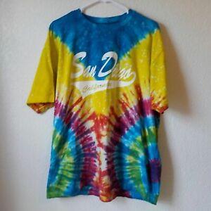 Tie Dye T-shirt Men XL San Diego White Print by Wings Beach Outfitters Vtg