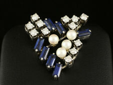 Elegante Saphir Brillant Perlen Brosche ca. 2,47ct 750/- Weißgold von Herbstrith