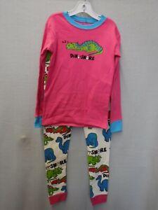 KIDS SIZE 8 LAZY ONE DINO-SNORE DINOSAUR PINK SNUG FIT 2 PC PAJAMAS NEW #20681
