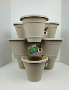 Vertical Garden Stackable Planters 3 Tiered Mini Flower Pot Herb Stone Beige