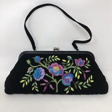 Vera Bradley Floral Embroidered Clutch Purse Black Quilted Kiss Lock Small Bag