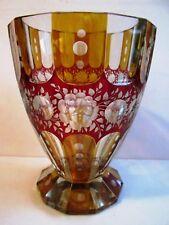 KARL PALDA - BOHEMIAN MODERNIST ART DECO Two Tone CUT TO CLEAR GLASS VASE 1930's