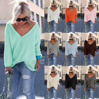 Womens Long Sleeve Loose Knit Sweater Ladies Casual Jumper Knitwear Tops Blouse