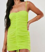 Missguided Women's Lime Mesh Drawstring Ruched Mini Dress Size 10 New With Tags
