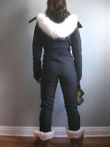 Ladies UK 4 EU32 TOPSHOP SNO SKI SUIT black All In One hood fur belt bond girl