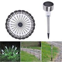 24 Pcs Stainless Steel LED Solar Power Landscape Light IP44 Pathway Garden White