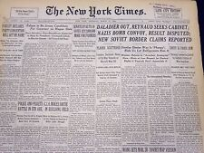 1940 MAR 21 NEW YORK TIMES NEWSPAPER - DALADIER OUT REYNAUD SEEKS CABINET- NT 44