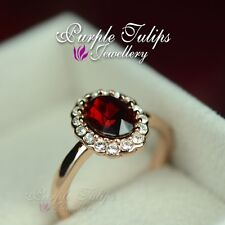 18CT Rose Gold Plated Elegant Ruby Ring Made With SWAROVSKI Crystals