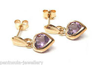 9ct Gold Amethyst Heart Drop Earrings Gift Boxed Made in UK Christmas Gift